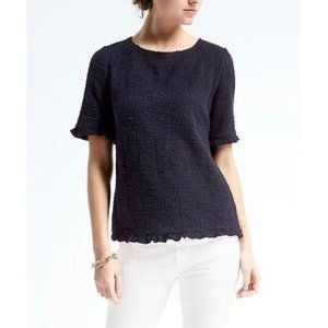 Banana Republic Boucle Boatneck Top L Navy Blue